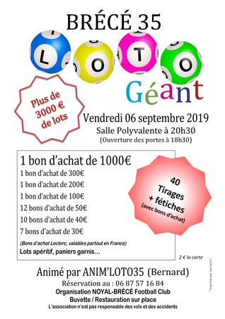LOTO GÉANT à Brécé (6 septembre) !