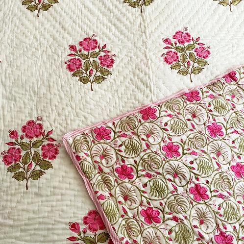 Hibiscus Hand Block Printed Quilt