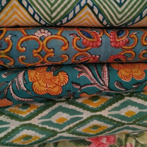 Block Printed Fabrics - Blues & Greens