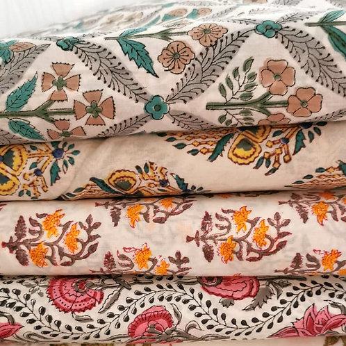 Block Printed Fabrics - White & Floral