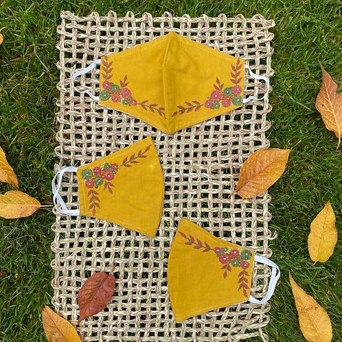 Amber Hand Embroidered Fabric Mask