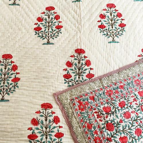 Marigold Hand Block Printed Quilt
