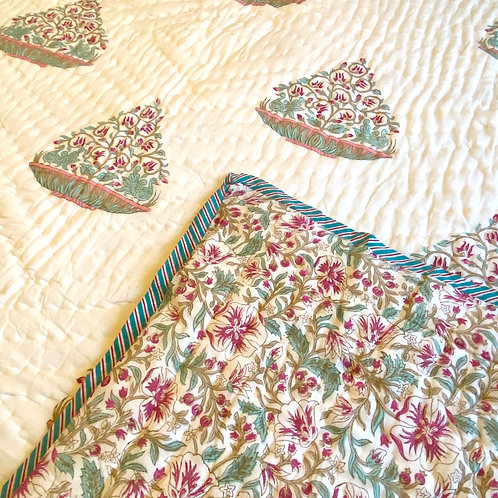 Birds of Paradise Hand Block Printed Quilt - Double