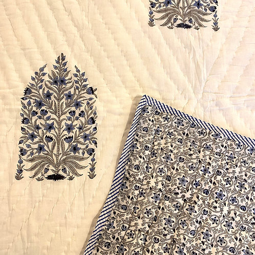 Flower Divine Hand Block Printed Quilt - Single