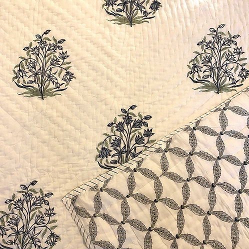 Blooming Twilight Hand Block Printed Quilt - Single