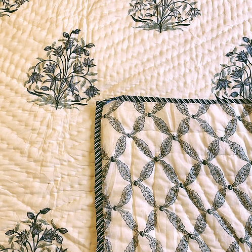 Blooming Twilight Hand Block Printed Quilt - Double