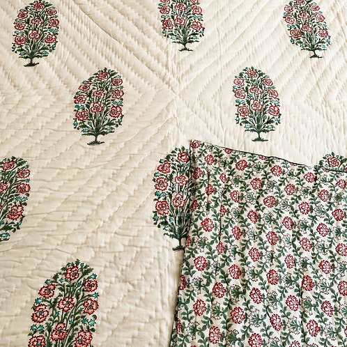 Carnations Hand Block Printed Quilt
