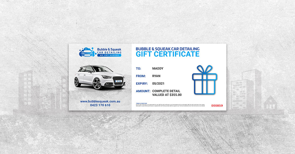 car detailing gift card voucher for bubble and squeak car detailing