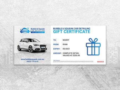 Car Detailing Gift Card Vouchers
