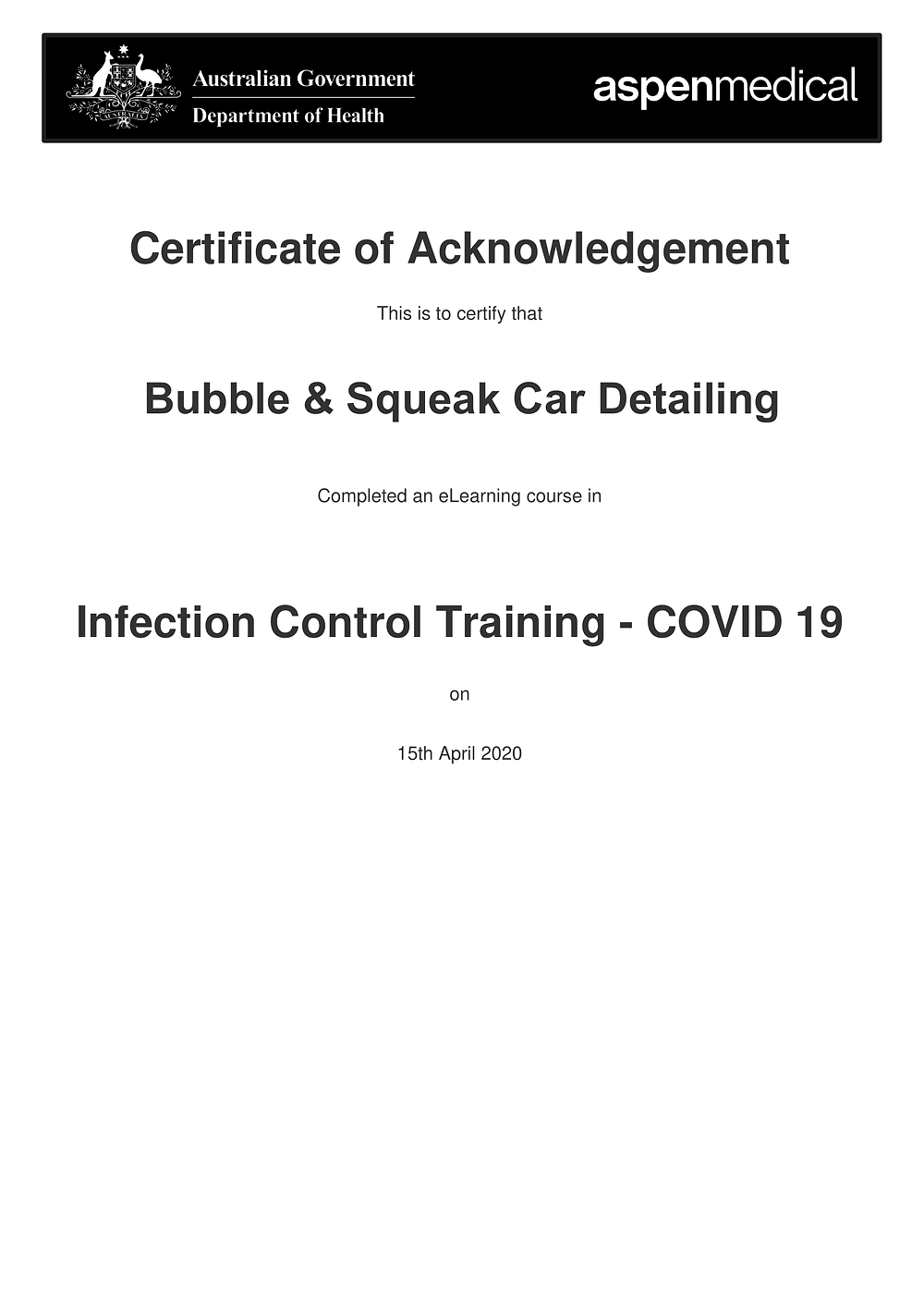 Mobile Car Detailing COVID-19 Certificate