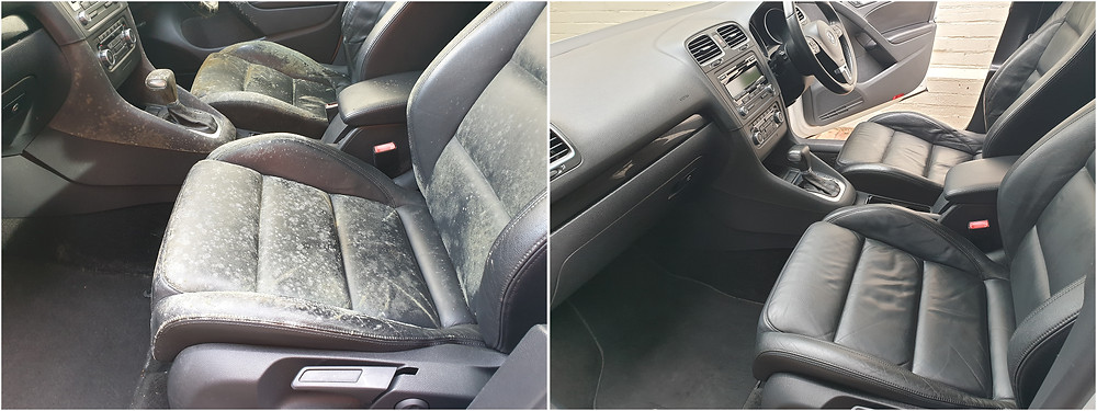 car interior upholstery mould before and after