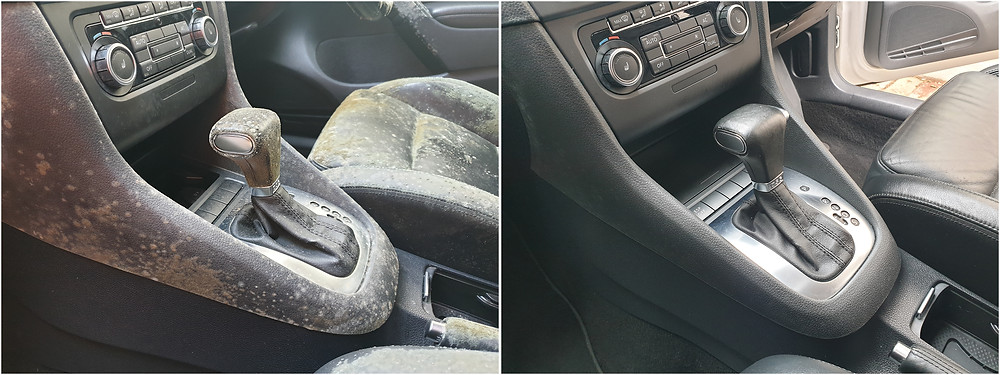 car interior center console mould before and after