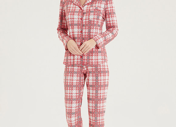 Blackspade Ladies Red Check PJ Set in super soft Modal Fabric with button detail