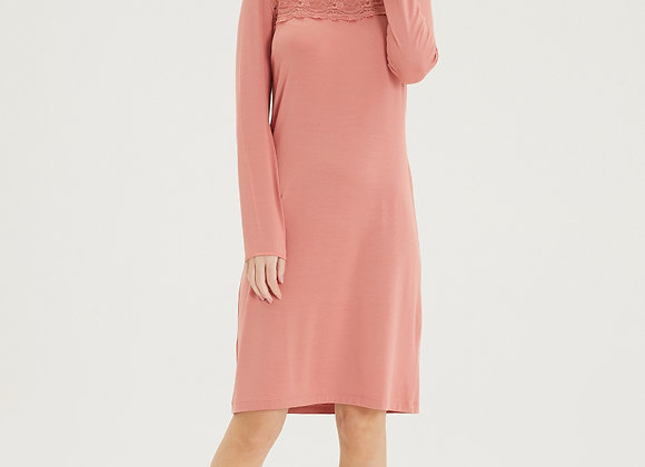 Blackspade Ladies Long Sleeve Nightgown with Lace detail
