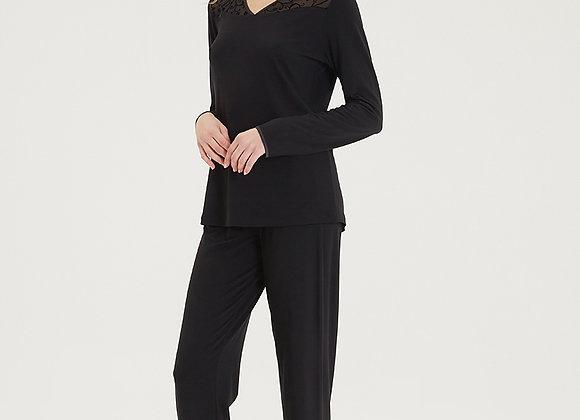 Blackspade Ladies Black PJ Set in super soft Modal Fabric with Lace detail