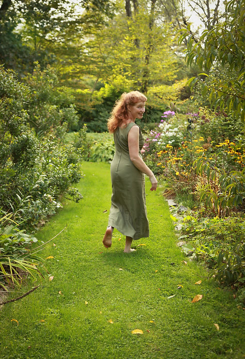 Alice Harwood in garden