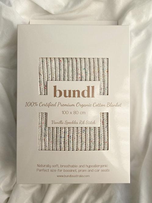 Vanilla Speckles Organic Ribbed Blanket