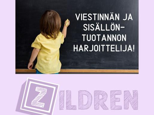 Haetaan viestinnän ja sisällöntuotannon harjoittelijaa Zildrenille!
