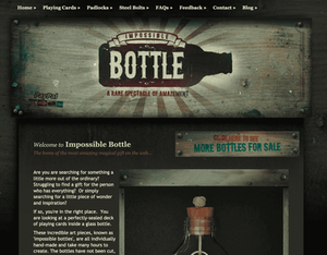 Screenshot of the homepage of the old Impossible Bottle website