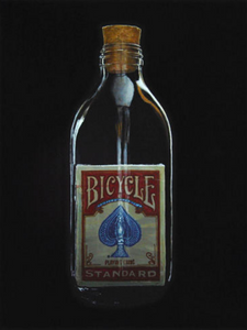 Painting of a red deck of cards in an impossible bottle