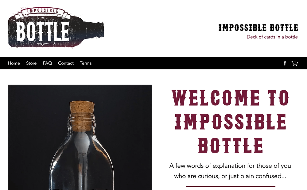 Screenshot of the homepage of the new Impossible Bottle website