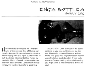 Extract from Art of Astonishment magic book about Harry Eng's Impossible Bottles