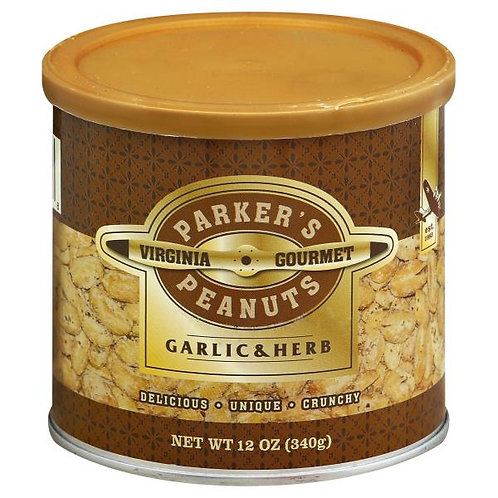 Parkers Peanuts Garlic and Herb Peanuts 12oz cans (Case of 6)