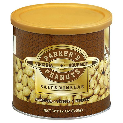 Parkers Peanuts Salt & Vinegar Peanuts 12oz cans (Case of 6)