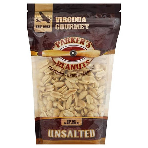 Parkers Peanuts Unsalted Peanuts 14oz Bags (Case of 12)
