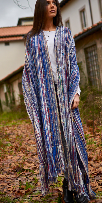 MATHEL stole made of mixed warp of cut wool and silk. Cashmere texture
