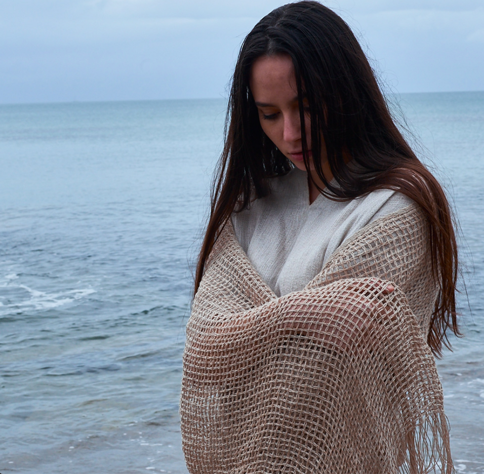 NATIVA sjal i ren hamp natur