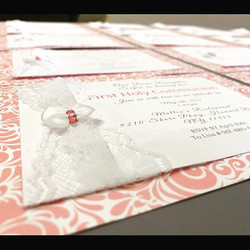 Pink & White Communion Invites with Lace, Bows and Crystals 🎀 #elisaviestaco #marketing #events #de