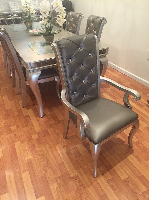 Rental: Tufted Diamond Arm Chair- Platinum