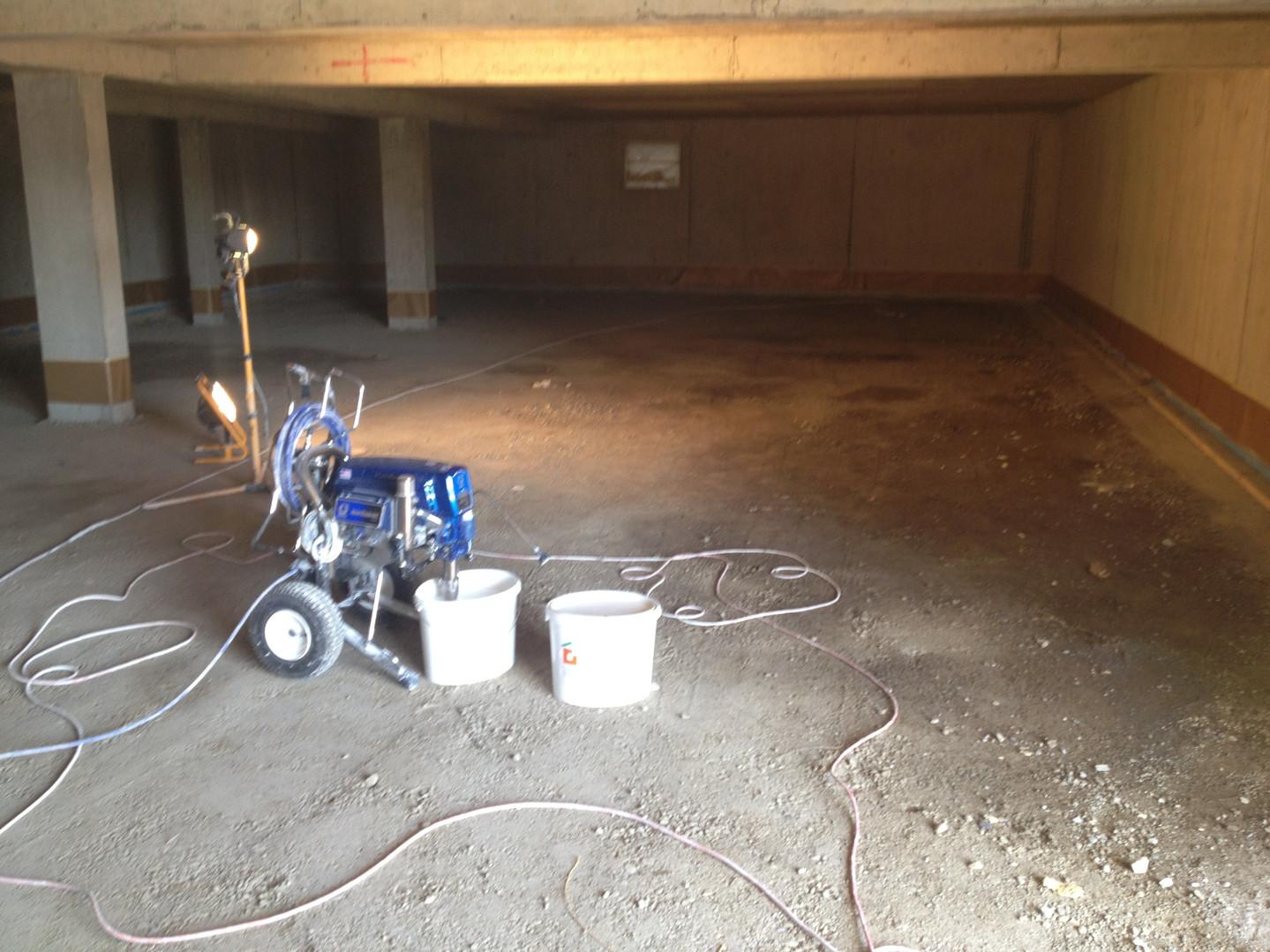 Peinture de garages à la machine