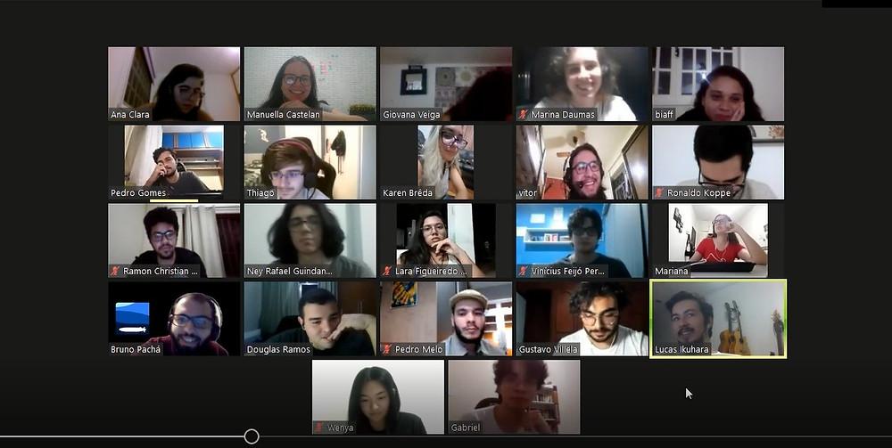 Membros da equipe Nautilus em uma reunião online no período de quarentena.  UFRJ Nautilus