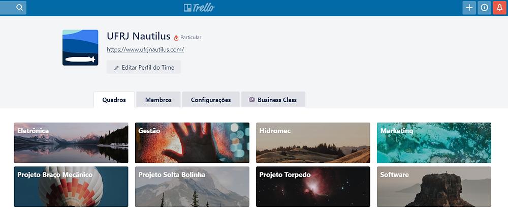 Página do Trello da UFRJ Nautilus. UFRJ Nautilus