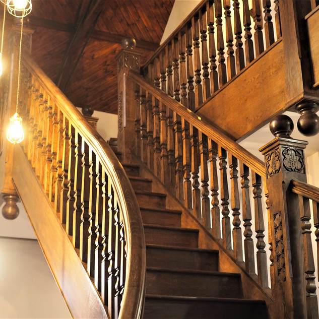 Red oak staircase - stained dark
