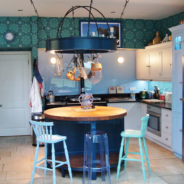 Blues and greens painted kitchen