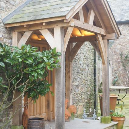 greying green oak porch