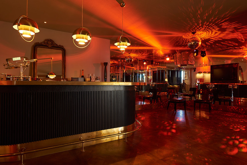 Bar - oak parquet ammonia flooring