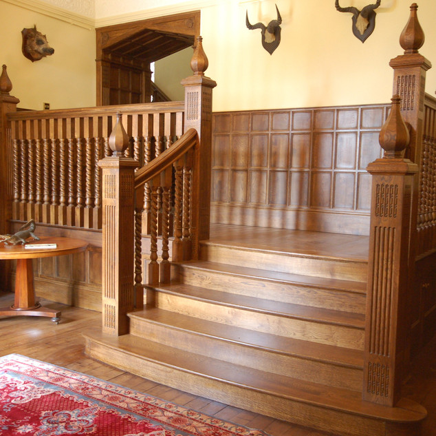 Dark stained staircase