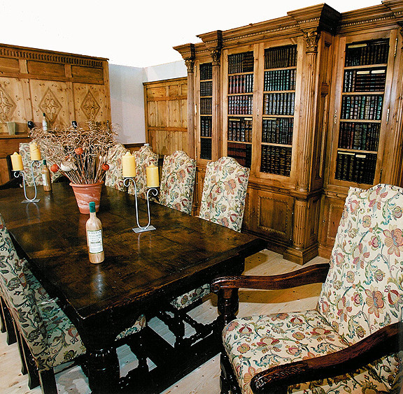 Large bespoke bookshelves and table