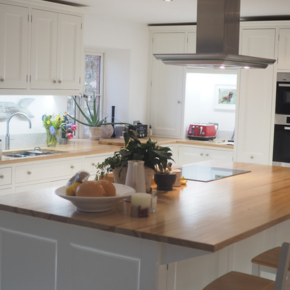 Ash and white painted kitchen