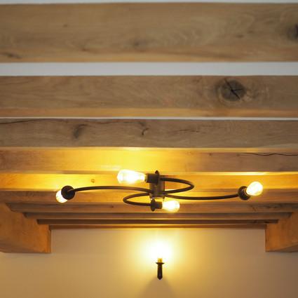 Exposed green oak beams