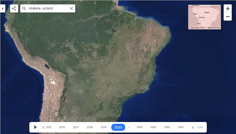 An image from Google Earth shows the change in Brazil's forest area in 2020 due to deforestation.