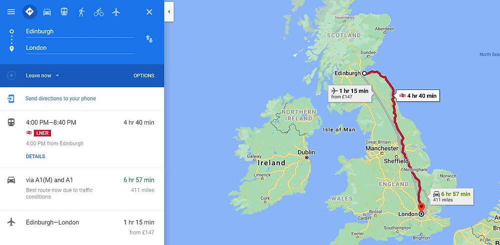 Google Maps screenshot with different available travel options for a route