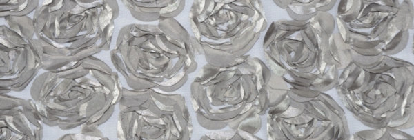 Rosette on Tulle Silver Tablecloth/Overlay