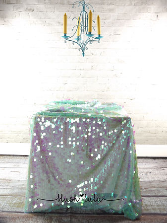 Mermaid Mint Large Sequin Tablecloth Overlay Buy Now at blush LULA Couture Linens