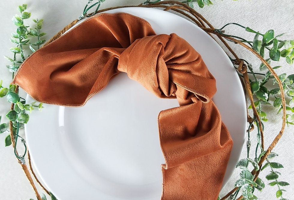 Ginger Rust Burnt Orange Matte Velvet Napkin
