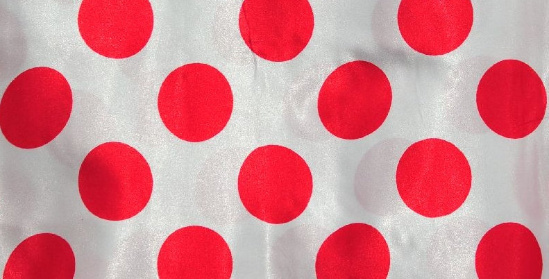 Polka Dot Red on White Tablecloth